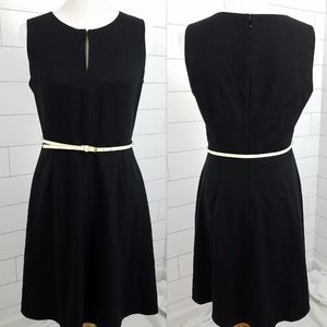 Calvin Klein size 8 Black Shift Dress w Ivory Belt